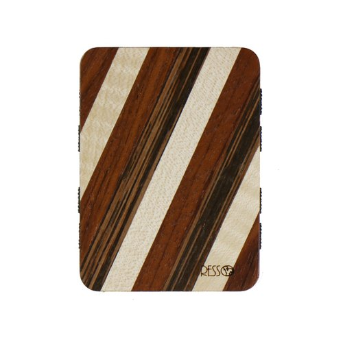 Resso European handmade wooden business card holder hard wood series - Coffee striped section
