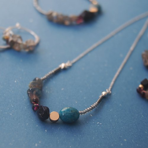 Seasons of the color apatite blue gravel labradorite natural stone crystal necklace