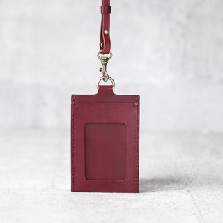 Burgundy handmade leather ID card case / holder/ badge holder