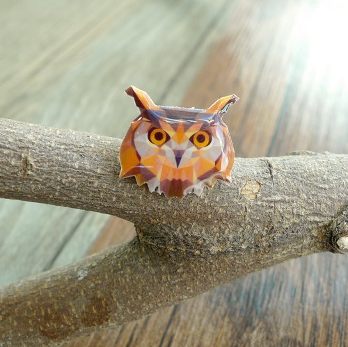 Misssheep-U62-Geometric animal series big eye owl hand made earrings (ear / transparent transparent ear clip)