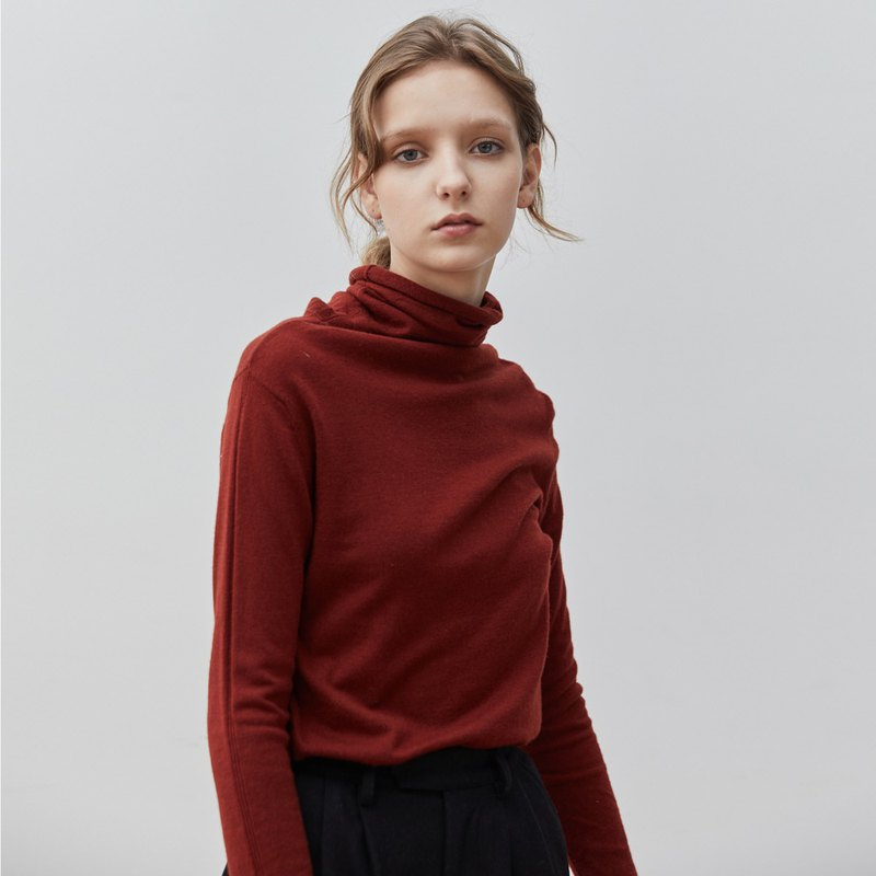 Wine red 7-color high-necked self-cultivation pile of collar blouse Merino wool slim sweater sweater skin-friendly