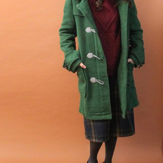 Retro autumn and winter hooded grass green plaid inside loose old horn buckle coat coat
