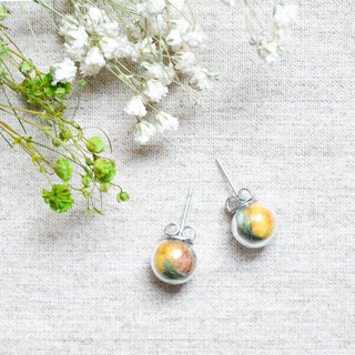 Autumn Leaves / Stainless Steel / Glass Dome Earrings