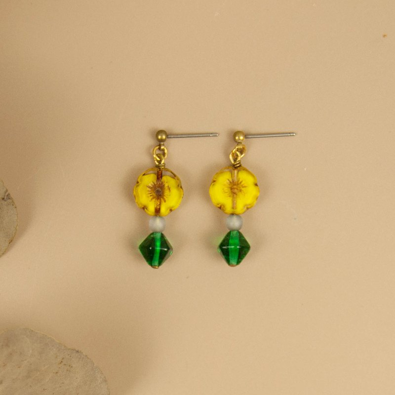 Yellow Flower Green Leaf Earrings