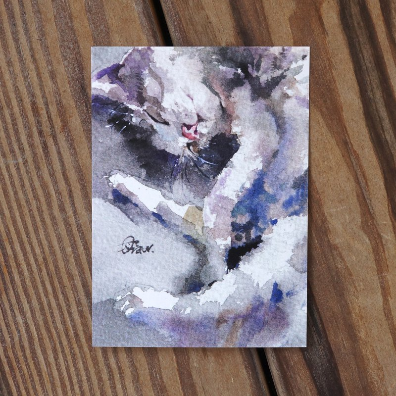 Watercolor Painted Hair Boy Postcard-Cat Sloth