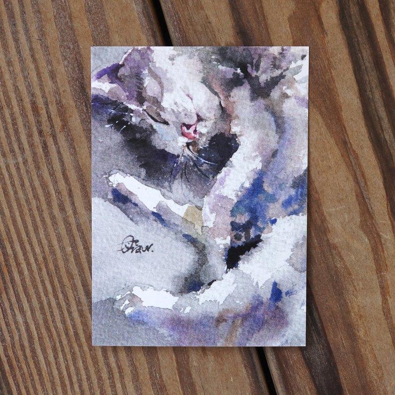 水彩繪毛孩系列明信片 - 貓懶