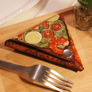 AT - Hand Made - Leather Engraved Painted PIZZA - Prawn Pizza Coin Purse