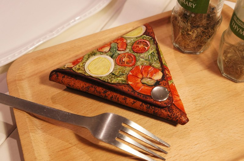 AT-Handmade-Leather carved and painted PIZZA-Prawn Pizza Coin Purse