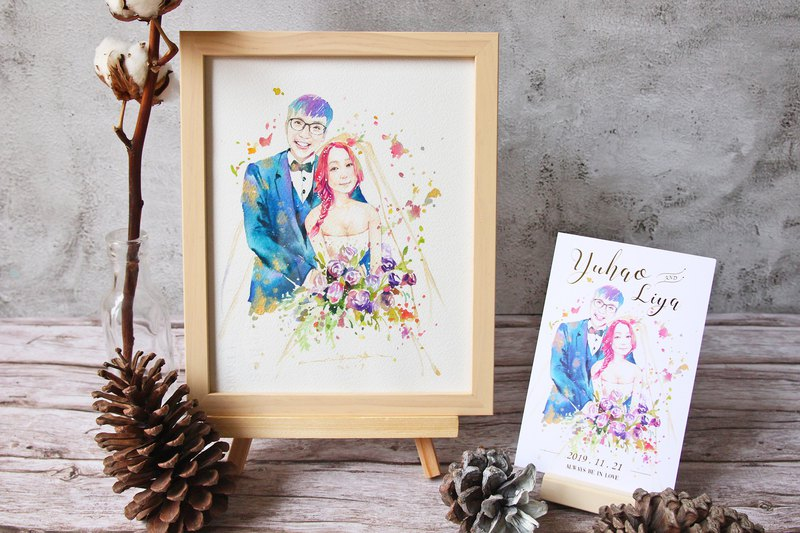 Custom wedding invitation design [including printing envelope stickers] | 啾 吉 watercolor wedding portrait painting wedding gift