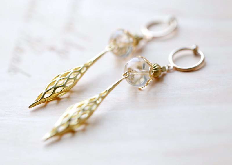 || Golden Wings || Beauty Natural White Crystal Drop Earrings
