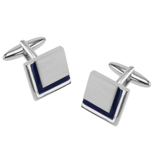 Dark Blue Enamel Border Square Cufflinks