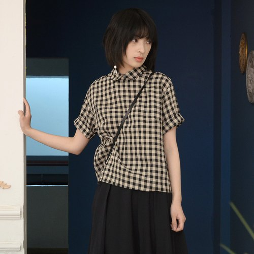 Small Round Neck Plaid Shirt | Shirt | Nettle | Independent Brand |Sora-120