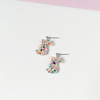 *Haku‧Neko*hand-painted mosaic wave cute little bunny earrings Pearl Ear