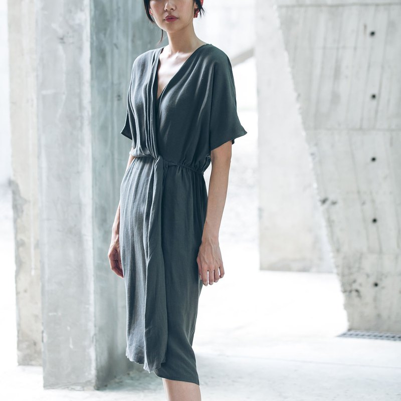 Greek Knot Dress - Dark Green