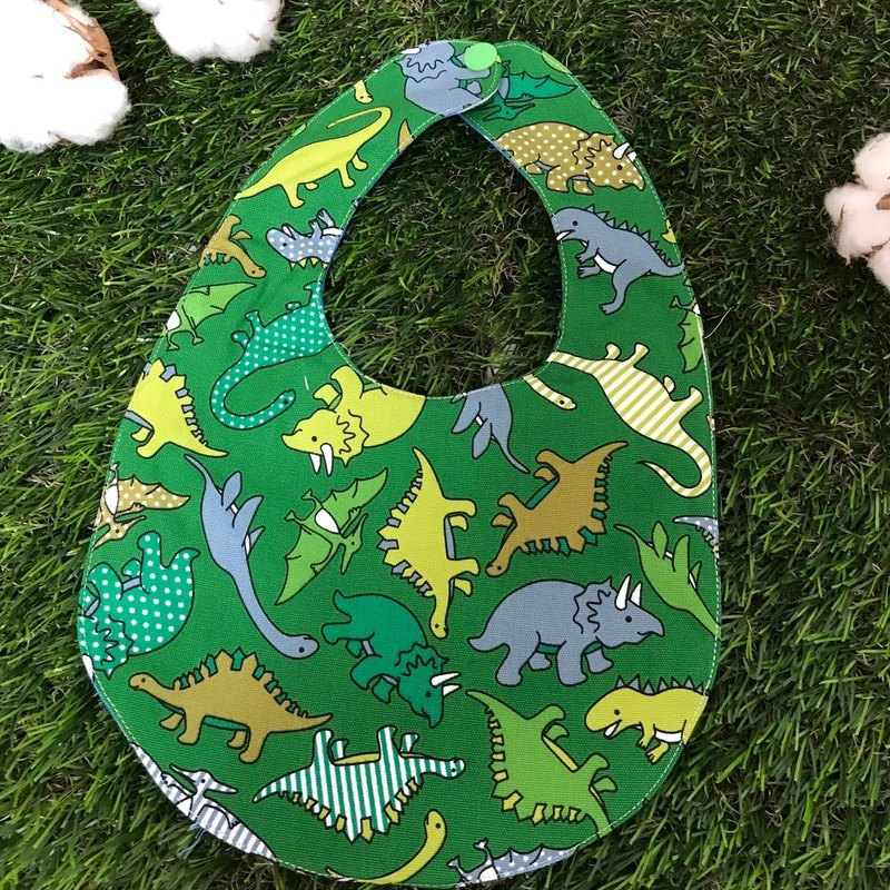 Double-sided bib - dinosaur <green>