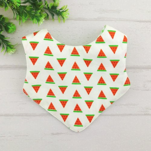 Fruit Party - Watermelon. Newborn double-sided bib / saliva towel (double cotton + four yarn) (can add 40 embroidery name)
