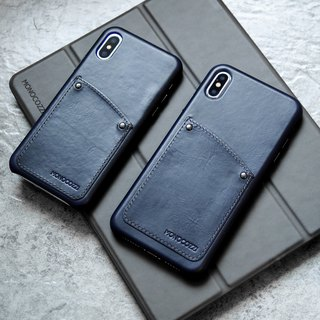 Exquisite | Vintage Leather Hard Shell Case for iPhone XS / Max  - Navy Blue