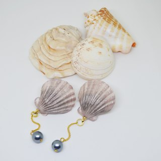 Purple shell ear (ear / clip) ring