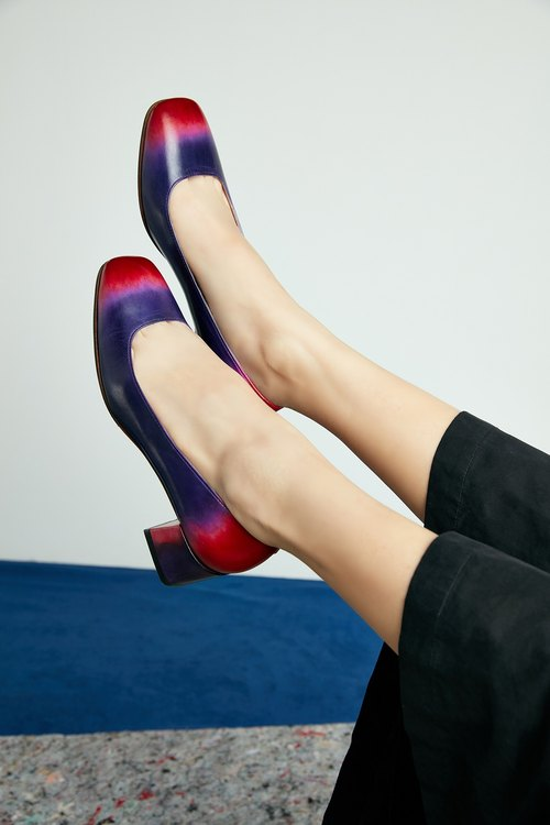 H THREE classic square heel / purple / gradient / Orion / Rough / retro