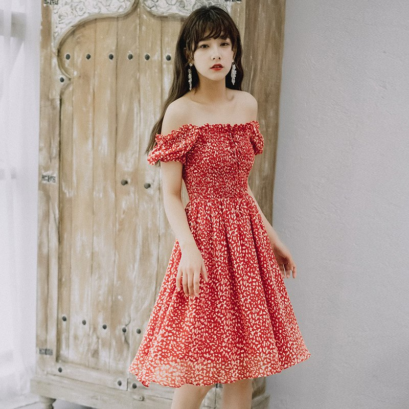 [thin section] Anne Chen 2019 female Xia Fang collar wooden ear side cable dress dress 9304