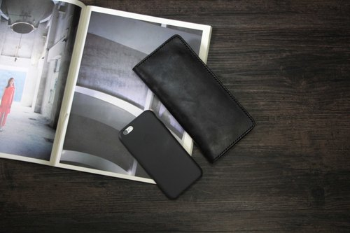 [That is, black] - plant tannery pure hand brush color leather long black wallet