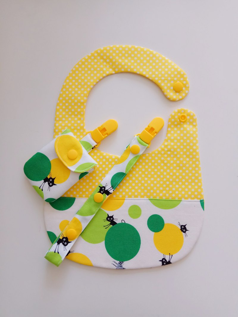 <绿> Cat playing ball moon gift baby bib + peace symbol bag + universal folder
