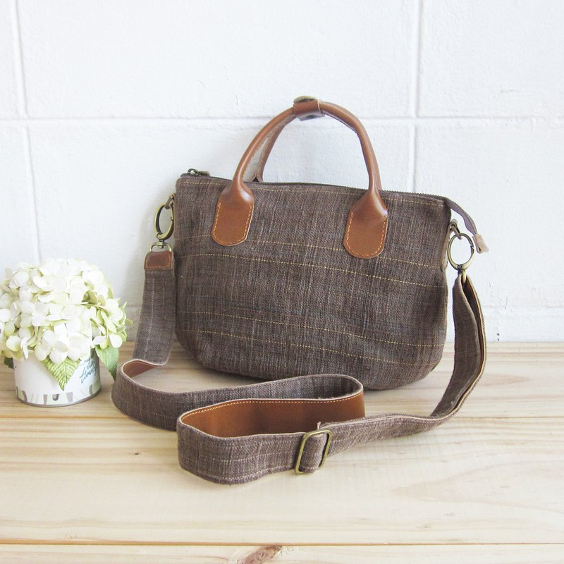 Cross-body Sweet Journey Bags S size Botanical Dyed Cotton Brown- Blue Color