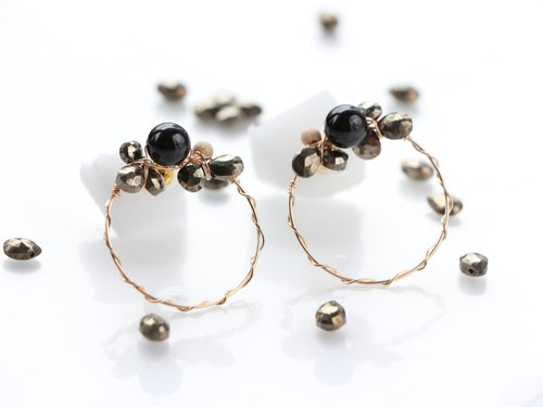 14kgf-metallic bijou modern hoop pierced earrings