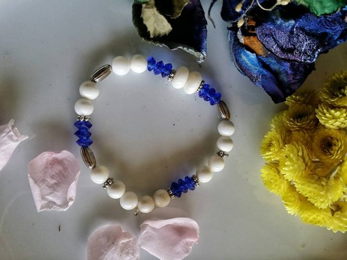 Valentine's Day [blue] hand-made X natural stone bracelet