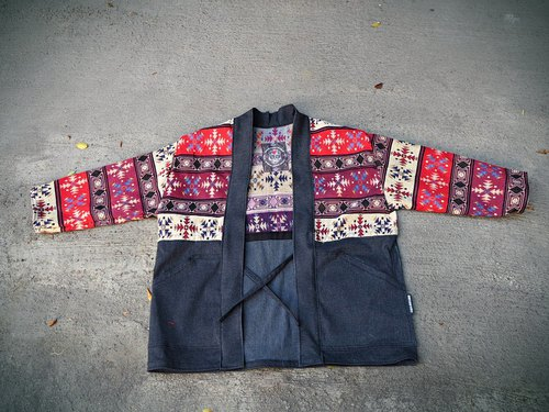 AMIN'S SHINY WORLD Handmade Custom National Totem Splicing Black Denim Smock Jacket