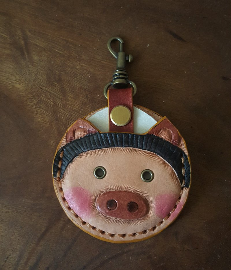 Cute shy pig gogoro key pure leather leather case