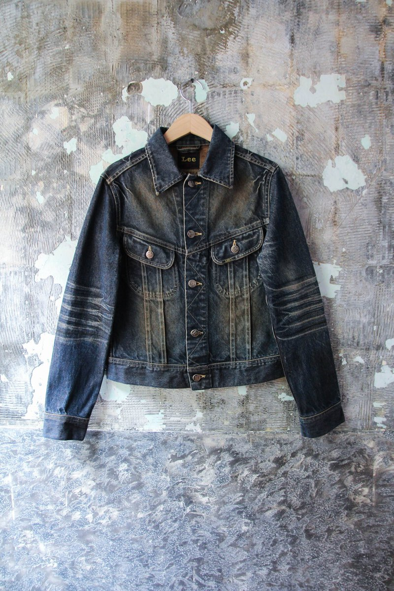 袅袅 department store-Vintage Lee special brush color denim jacket retro