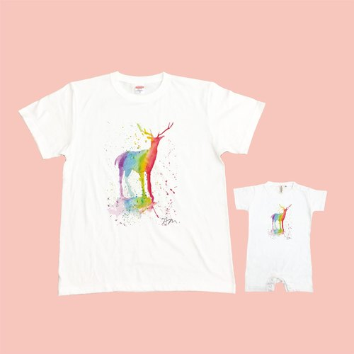 [Series] Sam Earth Rainbow Rainbow Family fitted deer group (two in) Japan United Athle neutral feeling soft cotton T-shirt / children's T-shirt / bag fart clothing