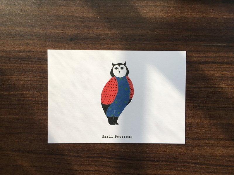 Small Potatoes postcard/owl/Mummy owl