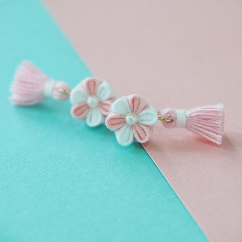 Lovely Pink & White Fabric Flower and Tassel Earrings Clip-on 14KGF, S925 custom
