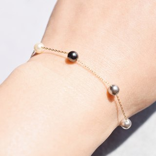 Black and white gray pearl bracelet is not available VISHI original US imports 14k gold Austrian artificial pearl temperament
