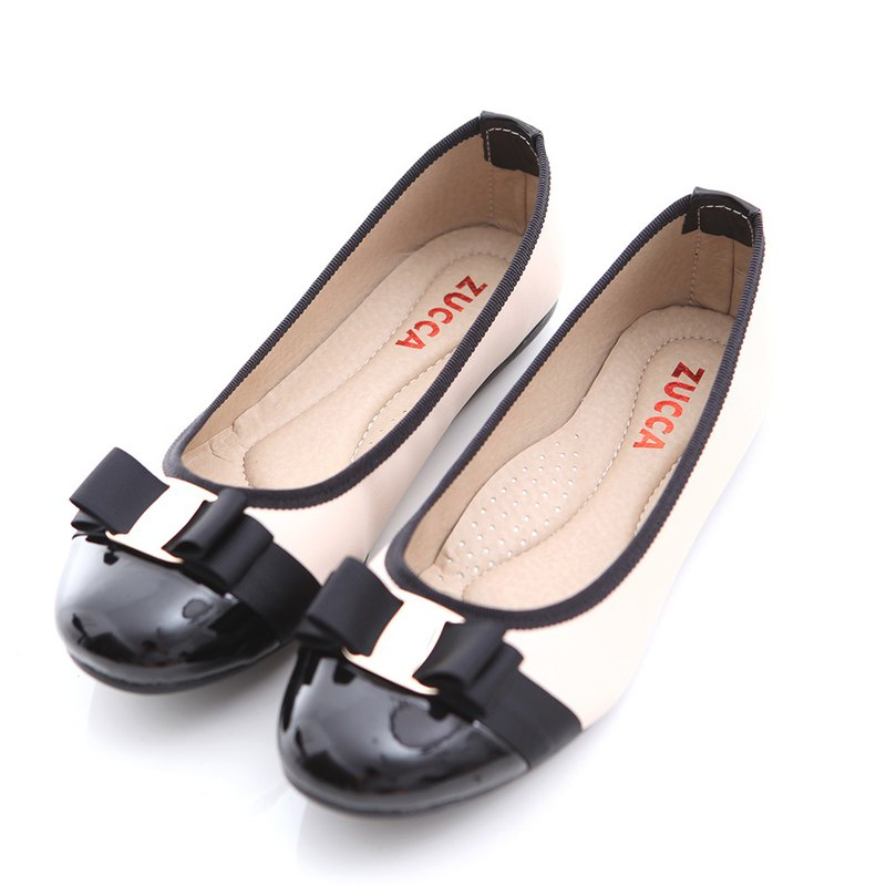 [ZUCCA] Japanese stitching bright leather flat shoes - white -z6613we
