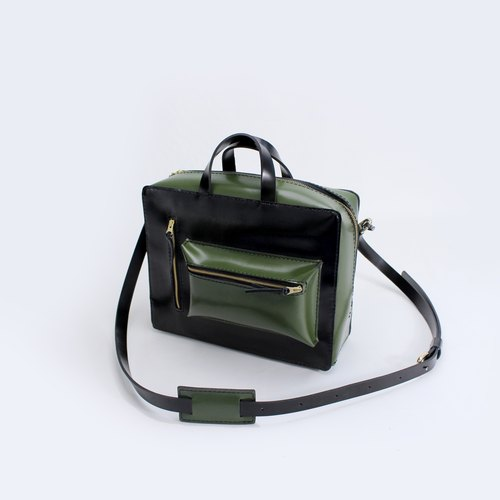 TaneLa full hand cowhide men front wind handbag shoulder bag work package black with green