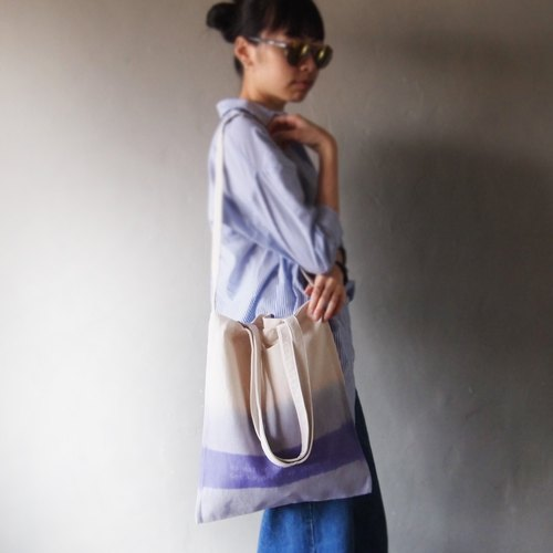 Double purple bar new dye-canvas hand-printing handprint tote bag double back
