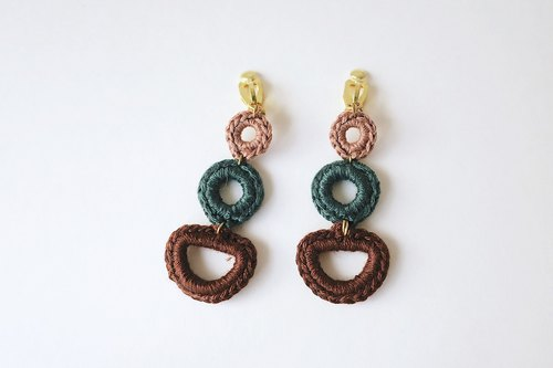 Embroidery Braided brass earrings
