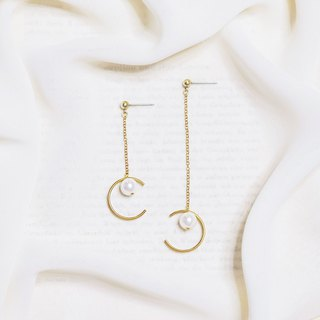 String Series Brass Shell Pearl Asymmetric Dangle Earrings Ear Pins Without Piercings