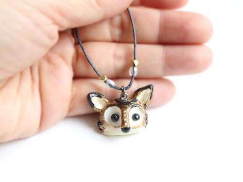 《Free Shipping》Black Wolf necklace - Handmade in polymer clay, one of a kind jewelry