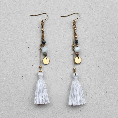 Freedom Bohemian Whitesmoke Tassel Brass Earrings - 14K Gold Filled Hooks / Clip-Ons