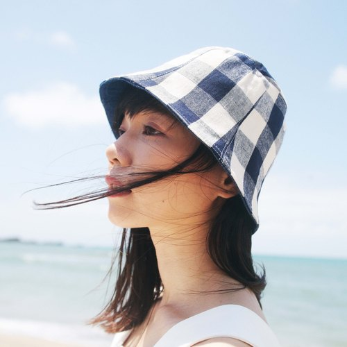 Double-sided hat _ Japanese cotton and linen blue lattice