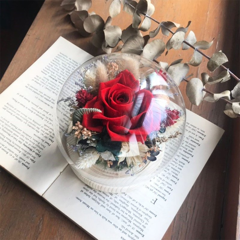 Eternal flower big glass ball, dry flower, no flower, customized Christmas gift, birthday gift