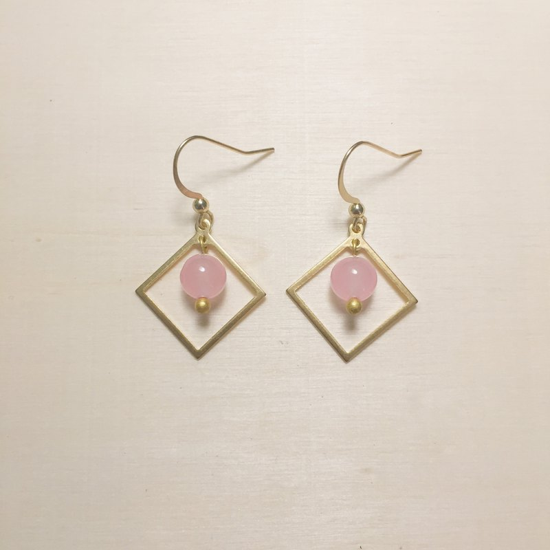 Pink jade diamond earrings