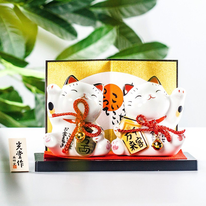 Japanese pharmacist kiln painting money source Guangjin guest like cloud to lucky cat decoration birthday opening housewarming gift