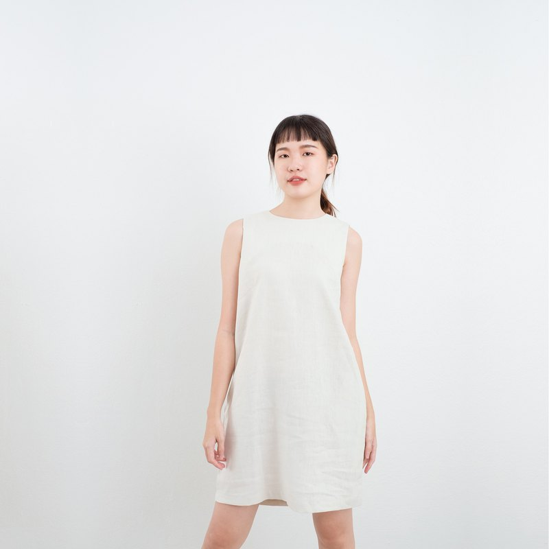 Beige Rabbit Bow Linen Dress