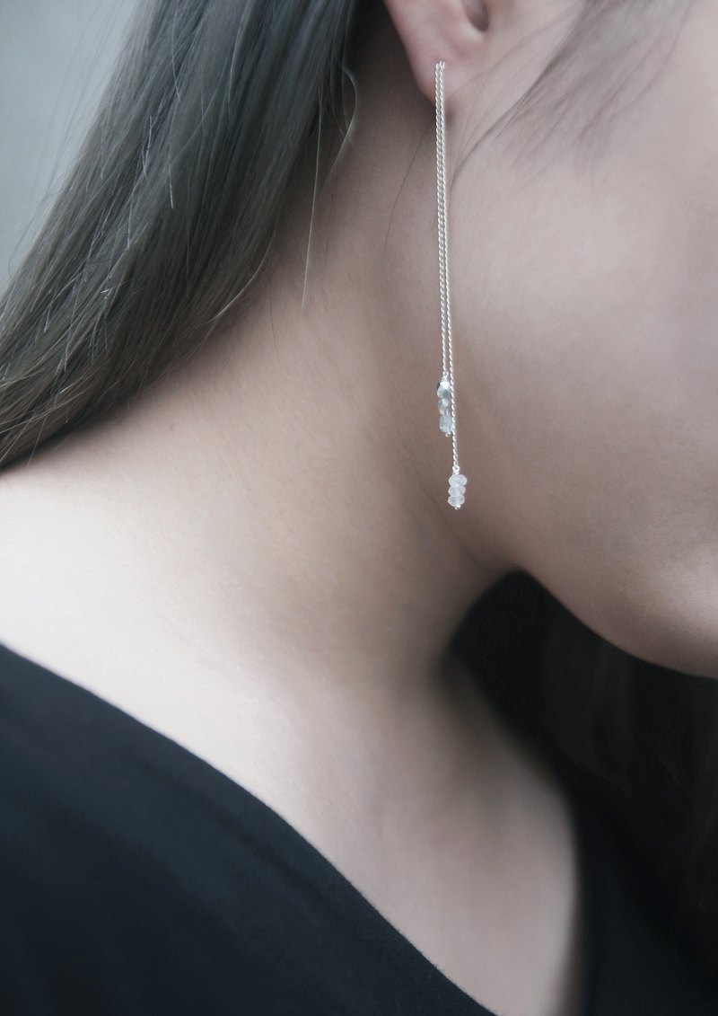 Flow 925 sterling silver double chain moonstone long chain minimalist earrings
