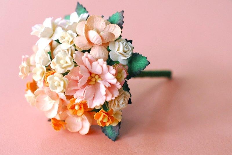 Paper Flower Small Bouquet For Wedding Decoration Peach Orange Tone Color